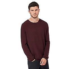 Red Herring - Dark red textured yoke jumper