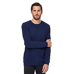 Red Herring - Big and tall dark blue textured yoke jumper