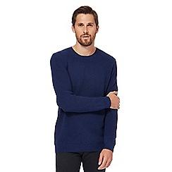 Red Herring - Big and tall dark blue blister stitch jumper