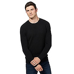 Red Herring - Big and tall black textured yoke jumper