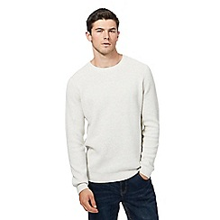Red Herring - Big and tall off white textured yoke jumper
