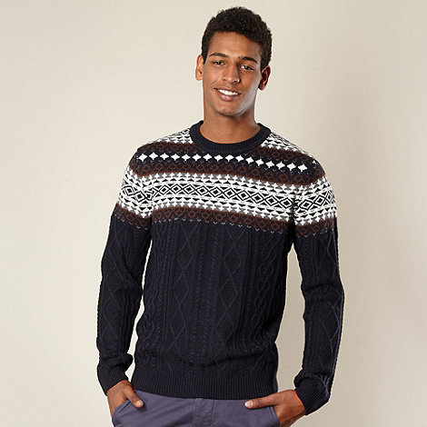 Red Herring - Blue cable knit fairisle jumper