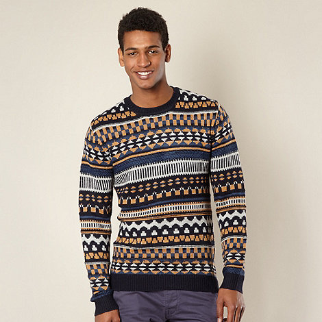 Red Herring - Blue patterned knitted jumper