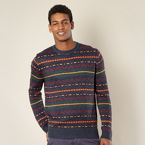 Red Herring - Blue colourful aztec jumper