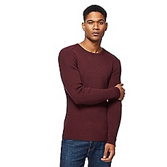 Red Herring - Wine red ribbed crew neck jumper