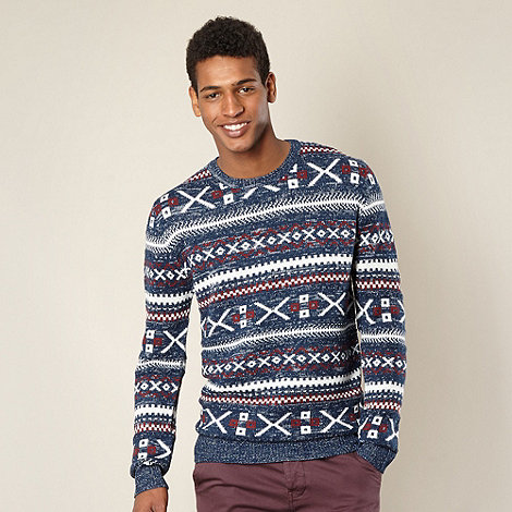Red Herring - Navy aztec knitted jumper