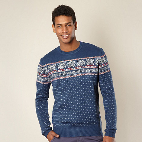 Red Herring - Blue snowflake fairisle jumper