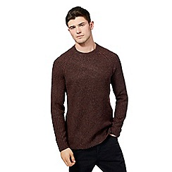 Red Herring - Big and tall dark red ribbed crew neck jumper