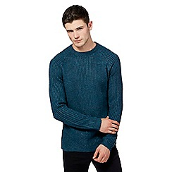 Red Herring - Big and tall turquoise ribbed crew neck jumper