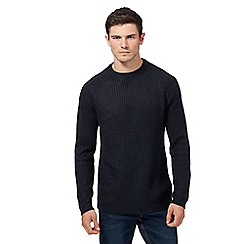 Red Herring - Big and tall navy ribbed crew neck jumper