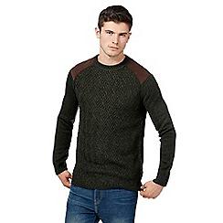 Red Herring - Dark green corduroy shoulder knitted jumper with wool