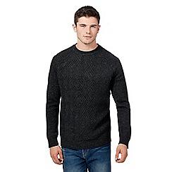 Red Herring - Dark grey zig zag knitted jumper with wool