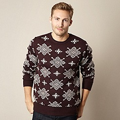 Red Herring - Plum snowflake knit jumper