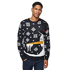 Red Herring - Navy snowman knit jumper