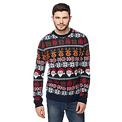 Red Herring - Navy Christmas themed knitted jumper