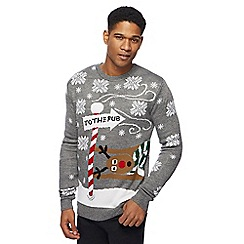 Red Herring - Grey 'To the pub' Christmas jumper