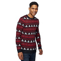 Red Herring - Navy Christmas tree jumper