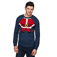 Red Herring - Blue 'Santa' knit Christmas jumper