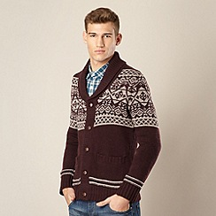St George by Duffer - Wine fairisle knitted shawl neck cardigan
