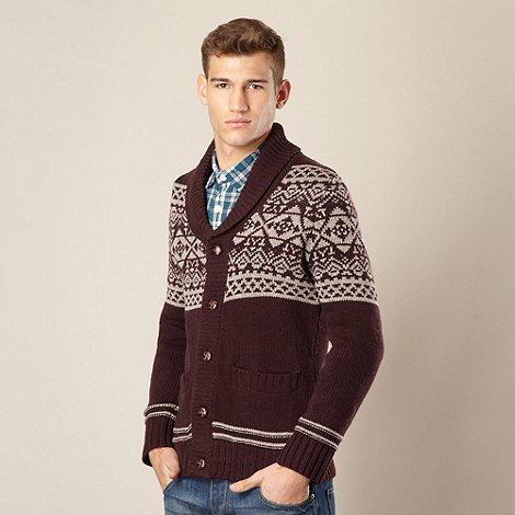 St George by Duffer - Wine fairisle knitted shawl neck cardigan