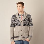 Natural fairisle knitted shawl neck cardigan