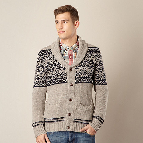 St George by Duffer - Natural fairisle knitted shawl neck cardigan
