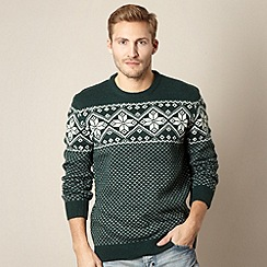 St George by Duffer - Green snowflake knit jumper
