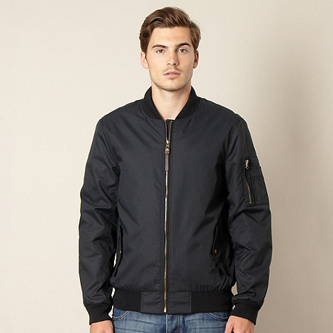 Red Herring - Black nylon bomber jacket