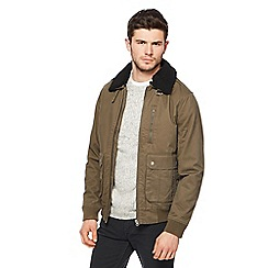 Red Herring - Big and tall khaki borg collar aviator jacket