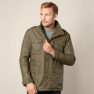 Khaki coated funnel neck jacket