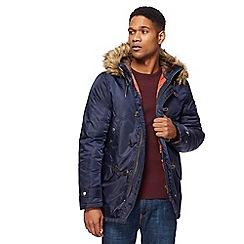 Red Herring - Navy snorkle faux fur trim parka coat