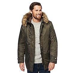 Red Herring - Khaki snorkle faux fur trim parka coat