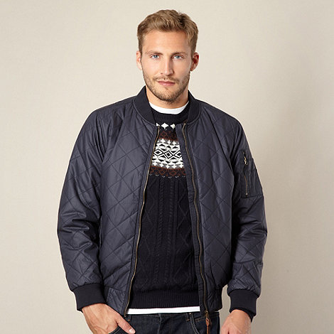 Red Herring - Navy quilted bomber jacket