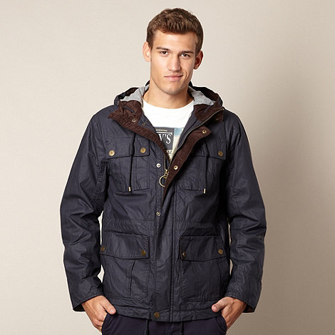 St George by Duffer - Blue waxed hooded jacket