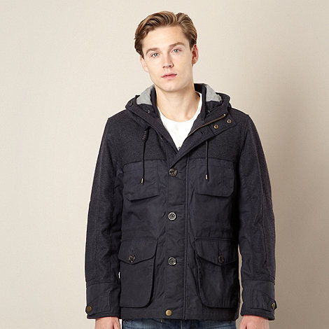 St George by Duffer - Navy mixed fabric quilted jacket