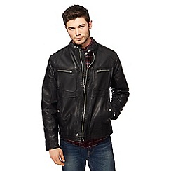 Red Herring - Big and tall black biker jacket