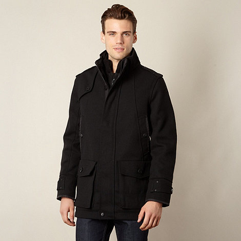FFP - Men+s black funnel neck coat