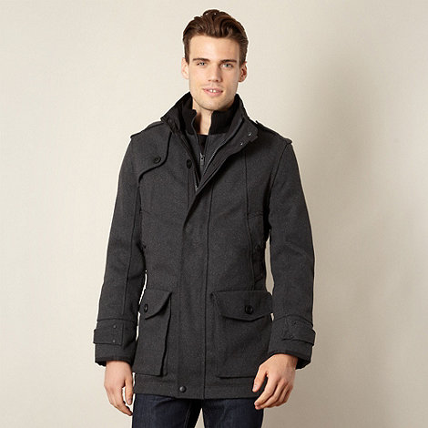 FFP - Men+s dark grey funnel neck coat