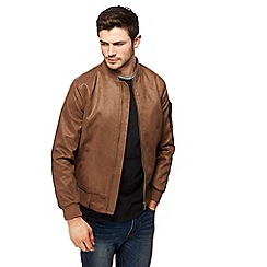 Red Herring - Big and tall tan suedette bomber jacket