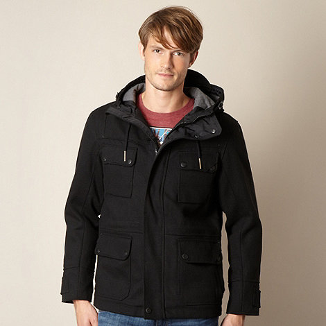 FFP - Black peak hood button coat