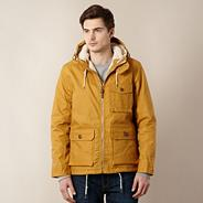 Mustard fleece hood quilted lining coat