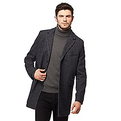 Red Herring - Navy wool blend herringbone Epsom coat