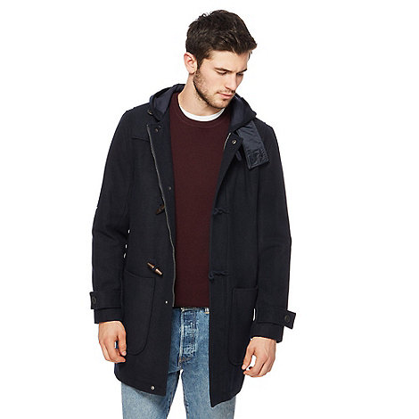 St George by Duffer - Navy padded faux fur trim coat