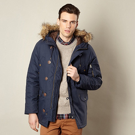 Red Herring - Navy nylon faux fur trim parka jacket