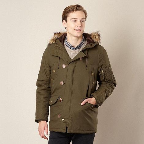 Red Herring - Khaki nylon faux fur trim parka jacket