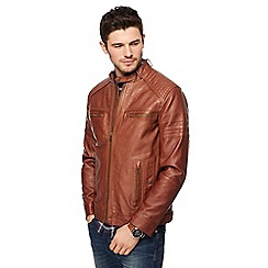 Red Herring - Big and tall brown biker jacket