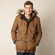 Dark tan fleece lined parka