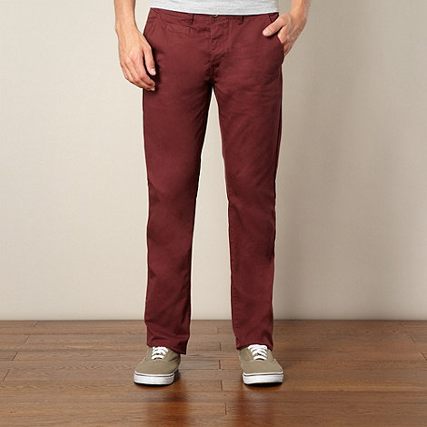 Red Herring - Maroon slim fit chino trousers