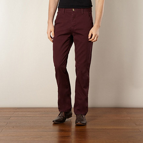 Red Herring - Dark red straight fit chinos