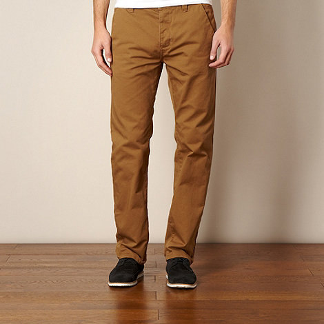 Red Herring - Dark tan straight chino trousers